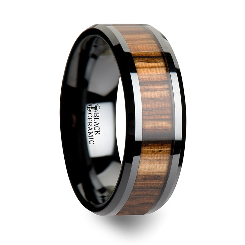 9 mm black Ceramic ring with a Zebra wood inlay and beveled edges
