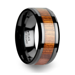 8 mm black Ceramic ring with a KOA wood inlay and beveled edges