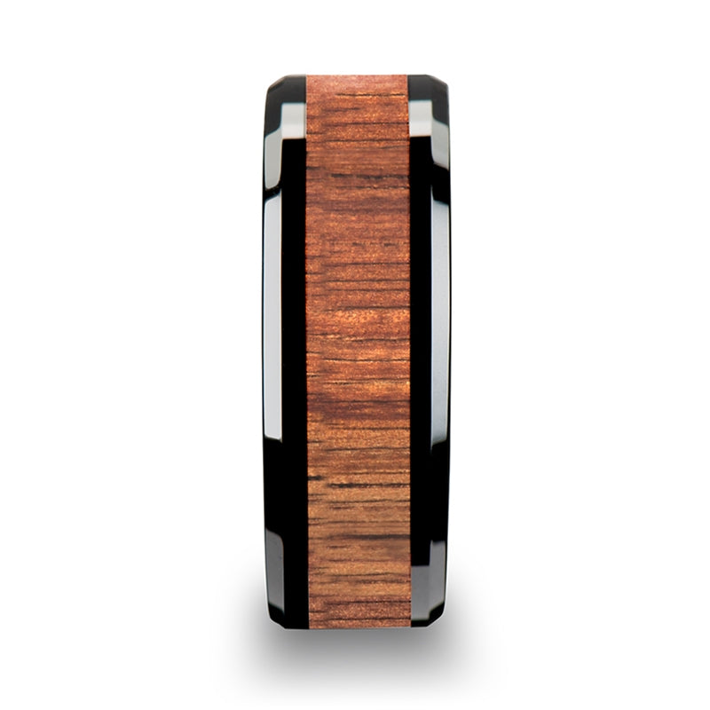 4 mm black Ceramic ring with a KOA wood inlay and beveled edges