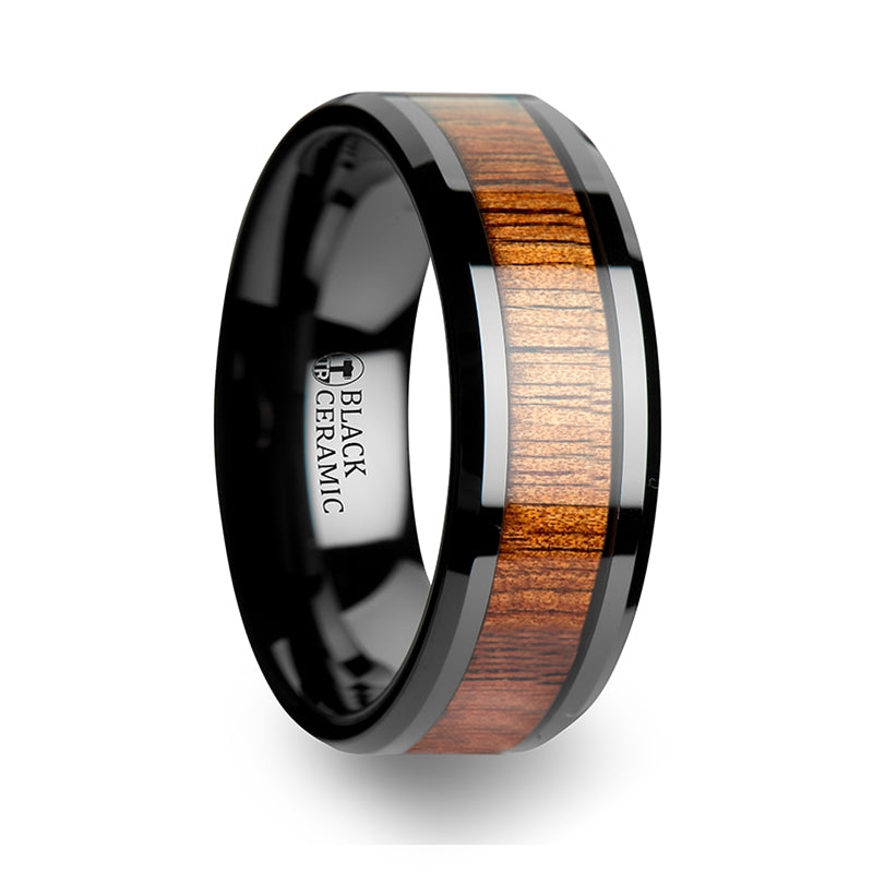 7 mm black Ceramic ring with a KOA wood inlay and beveled edges