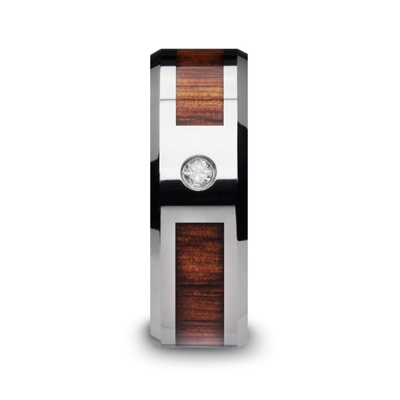 6 mm Tungsten Carbide ring with a KOA wood inlay, diamond setting and polished beveled edges