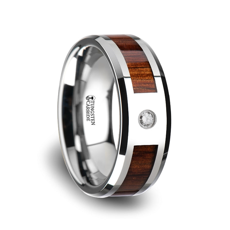 8 mm Tungsten Carbide ring with a KOA wood inlay, diamond setting and polished beveled edges