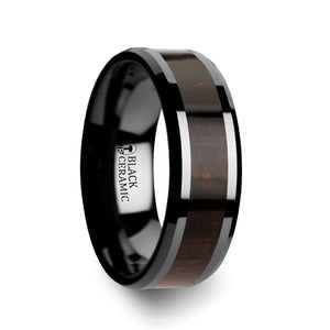 8 mm black Ceramic ring with a dark Ebony wood inlay and beveled edges
