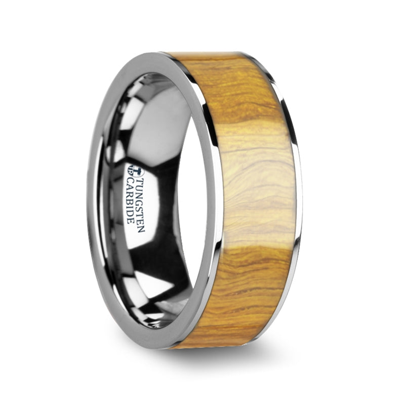 8 mm flat Tungsten Carbide wedding band with an Olive wood inlay and polished edges