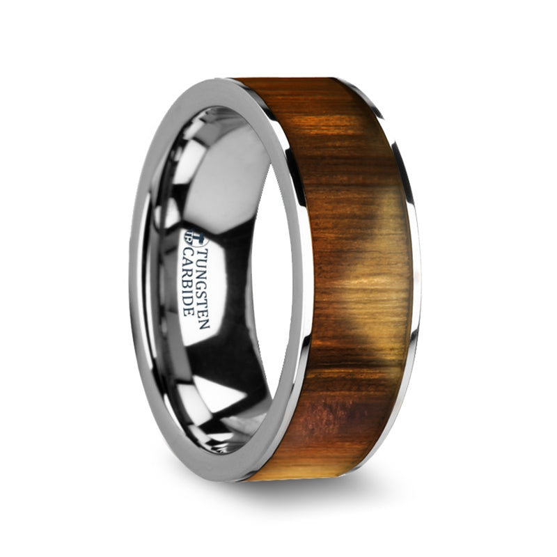 6 mm flat Tungsten Carbide wedding band with an Olive wood inlay and polished edges