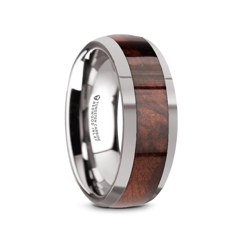 domed Tungsten Carbide ring with a Redwood inlay and polished edges