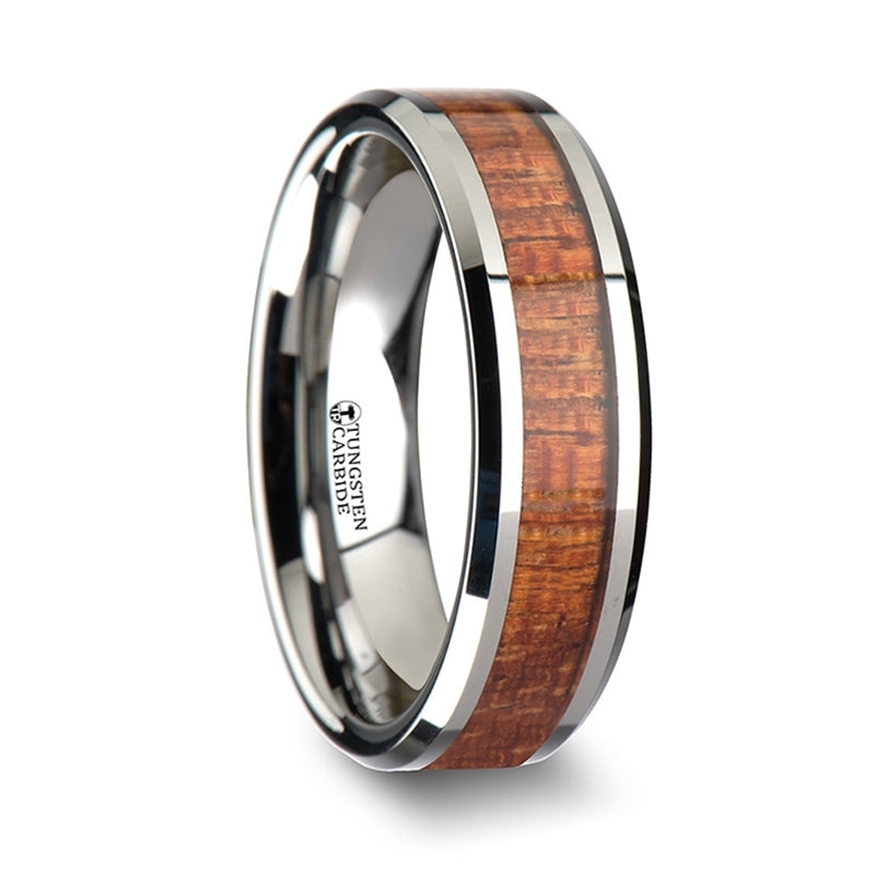 6 mm Tungsten Carbide ring with a Mahogany wood inlay and polished beveled edges
