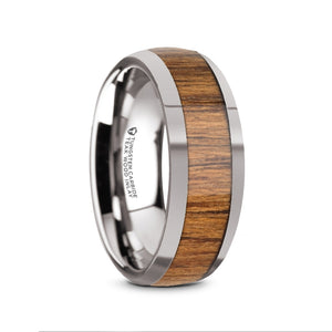 domed Teak wood inlaid Tungsten ring with polished edges