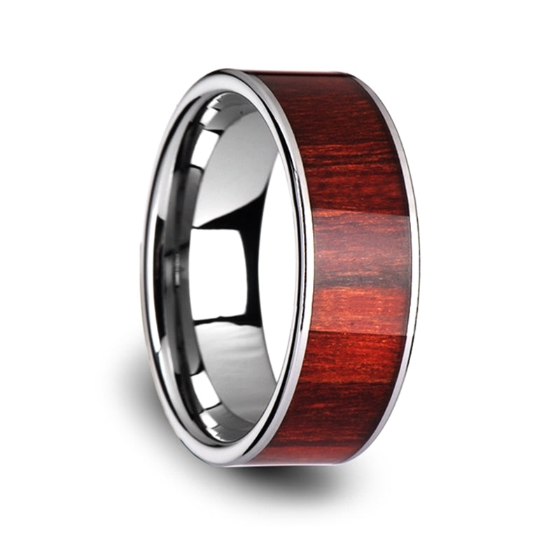 8 mm flat Tungsten ring with a Brazilian Rosewood inlay and polished edges