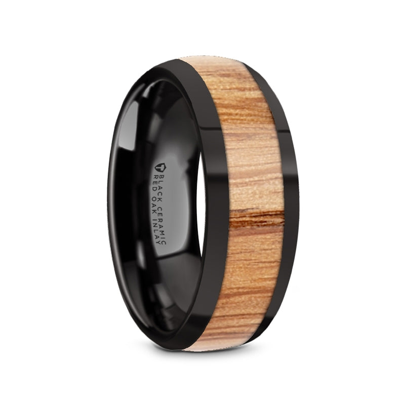 domed black Ceramic ring with a Red Oak wood inlay and polished edges