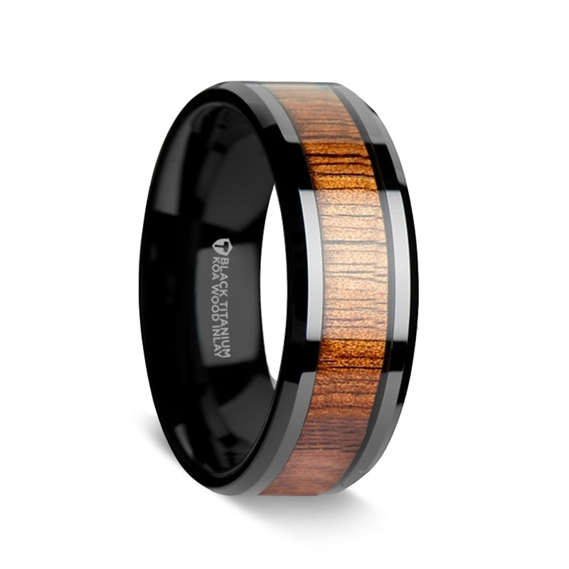 KOA wood inlaid titanium wedding ring with beveled edges