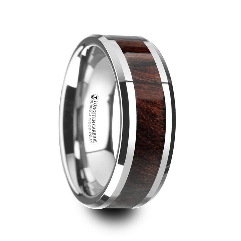 8 mm Bubinga wood inlaid Tungsten ring with beveled edges