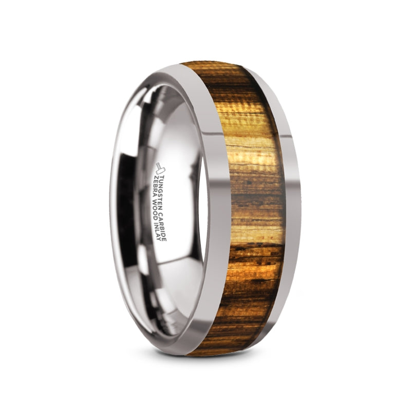 8 mm domed Zebra wood inlaid Tungsten wedding band with a polished finish