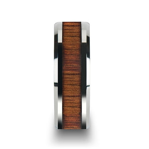 6 mm beveled edged Titanium wedding band with a KOA wood inlay