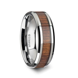 7 mm beveled edged Titanium wedding band with a KOA wood inlay