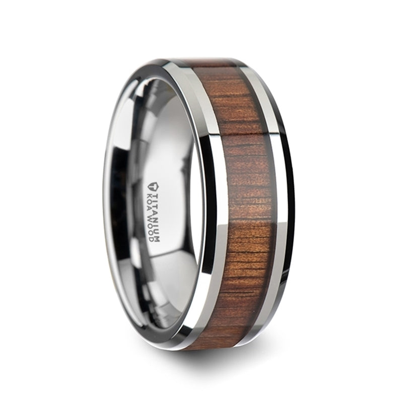 8 mm beveled edged Titanium wedding band with a KOA wood inlay