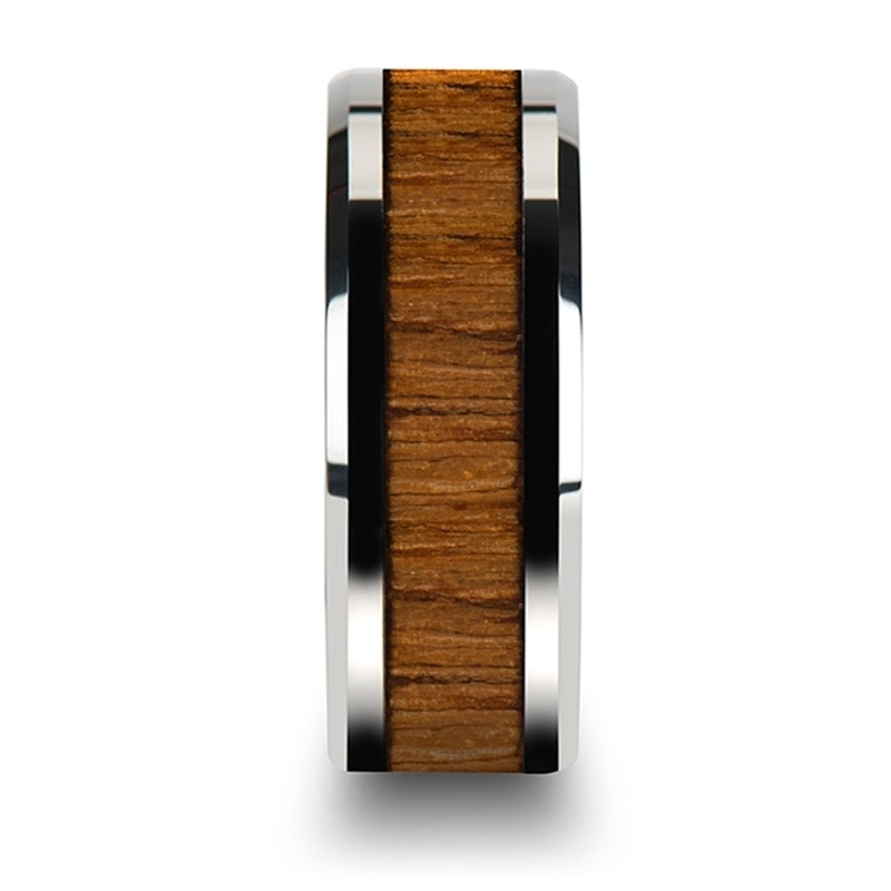 6 mm beveled edged Tungsten Carbide ring with a Teak wood inlay