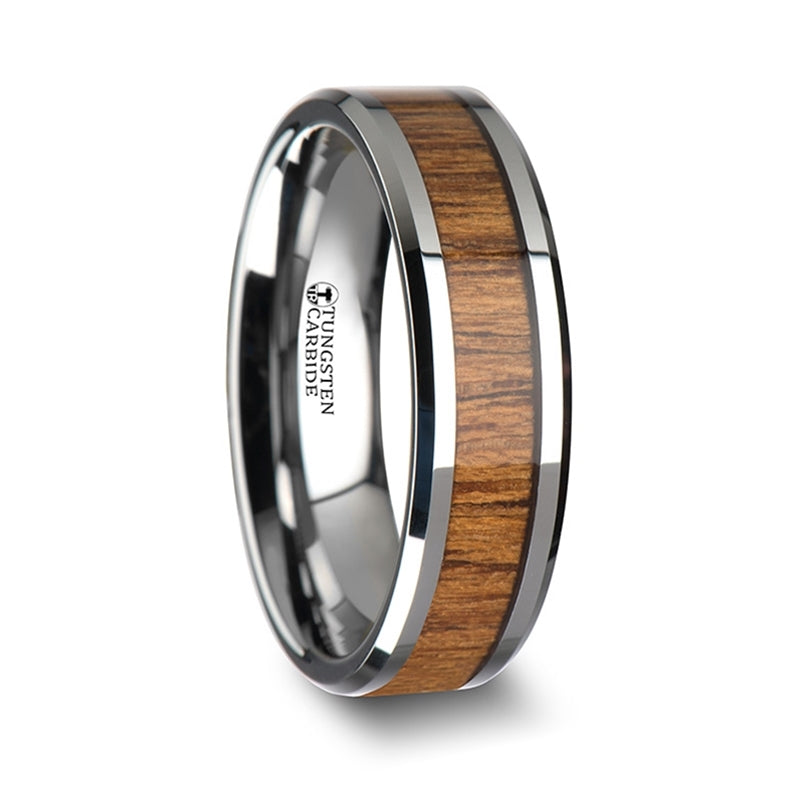 7 mm beveled edged Tungsten Carbide ring with a Teak wood inlay