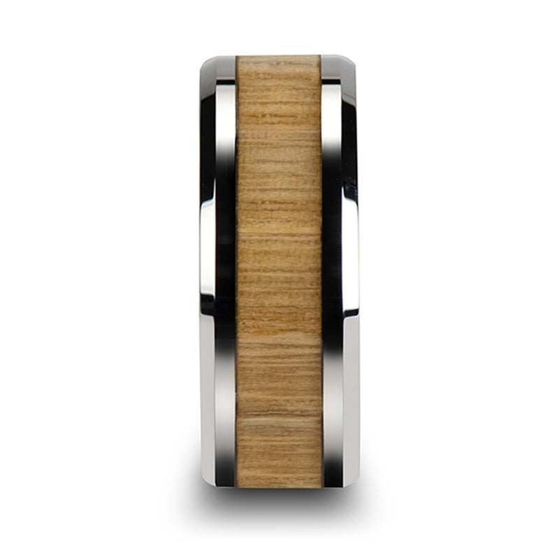 5 mm Tungsten ring with an Ash wood inlay and polished beveled edges