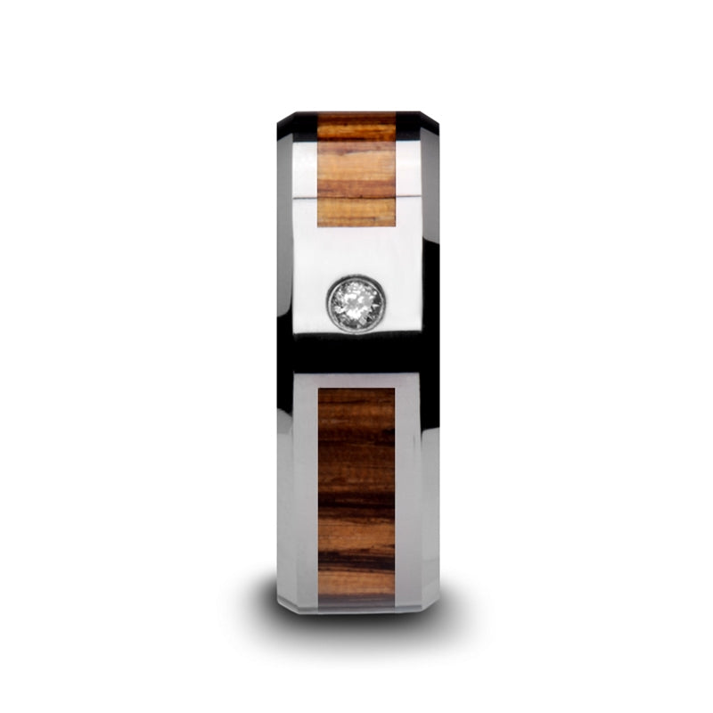 7 mm men's Tungsten Carbide wedding band with a Zebra wood inlay, beveled edges and a diamond setting