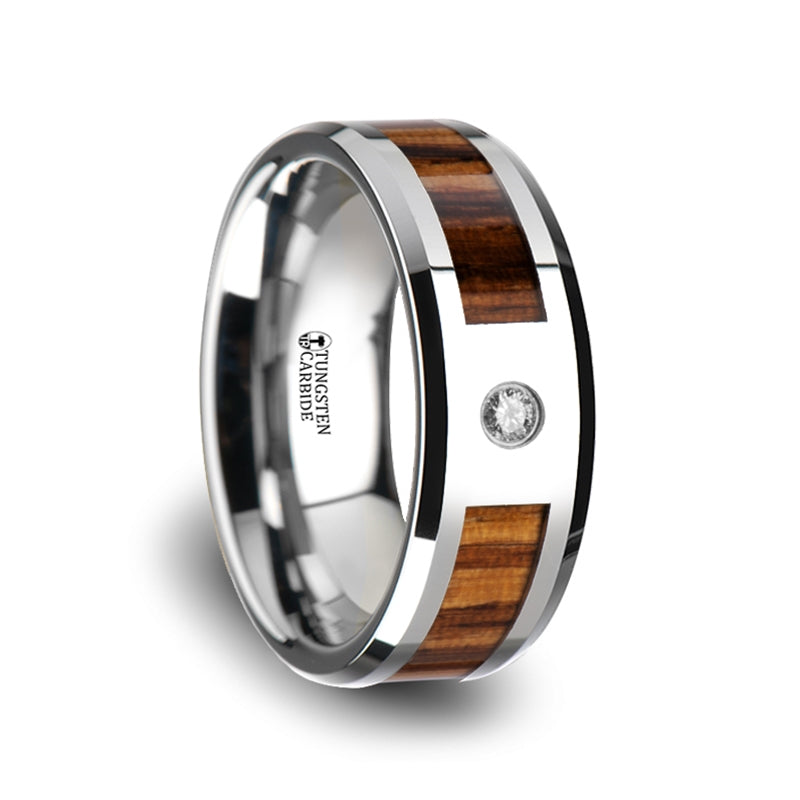 8 mm men's Tungsten Carbide wedding band with a Zebra wood inlay, beveled edges and a diamond setting