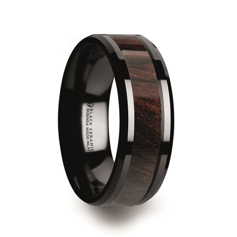black Ceramic wedding band with a Bubinga wood inlay and polished beveled edges