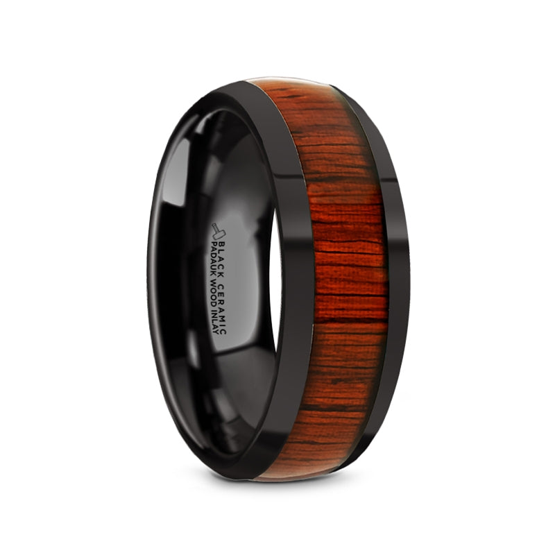 8 mm domed black Ceramic men's ring with a Padauk wood inlay and polished edges
