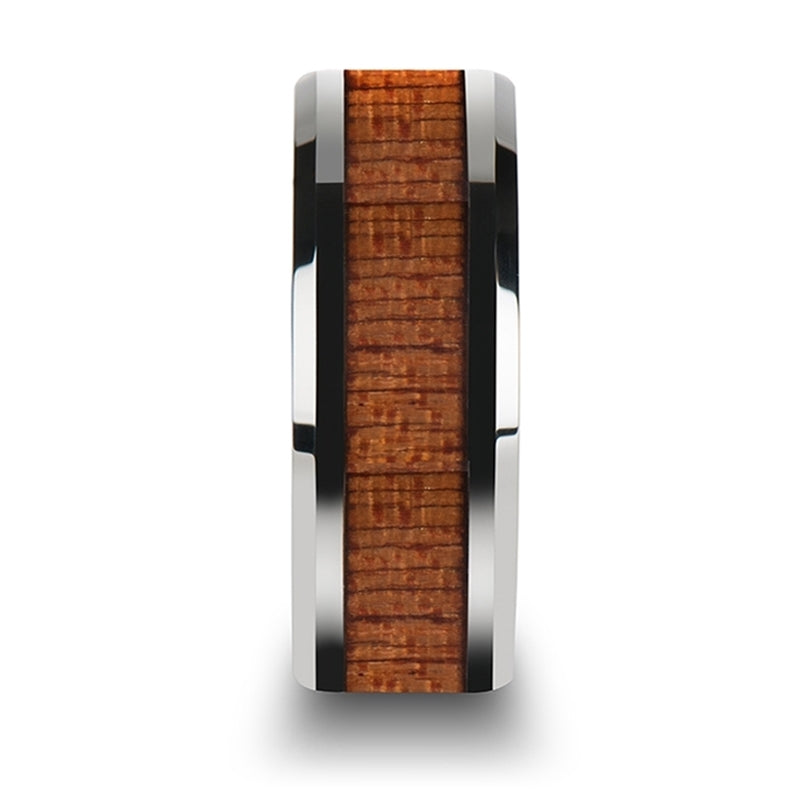 5 mm Tungsten wedding ring with an african Sapele wood inlay and polished beveled edges