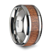 10 mm Tungsten wedding ring with an african Sapele wood inlay and polished beveled edges