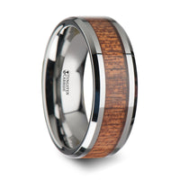 8 mm Tungsten wedding ring with an african Sapele wood inlay and polished beveled edges