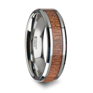 6 mm Tungsten wedding ring with an african Sapele wood inlay and polished beveled edges