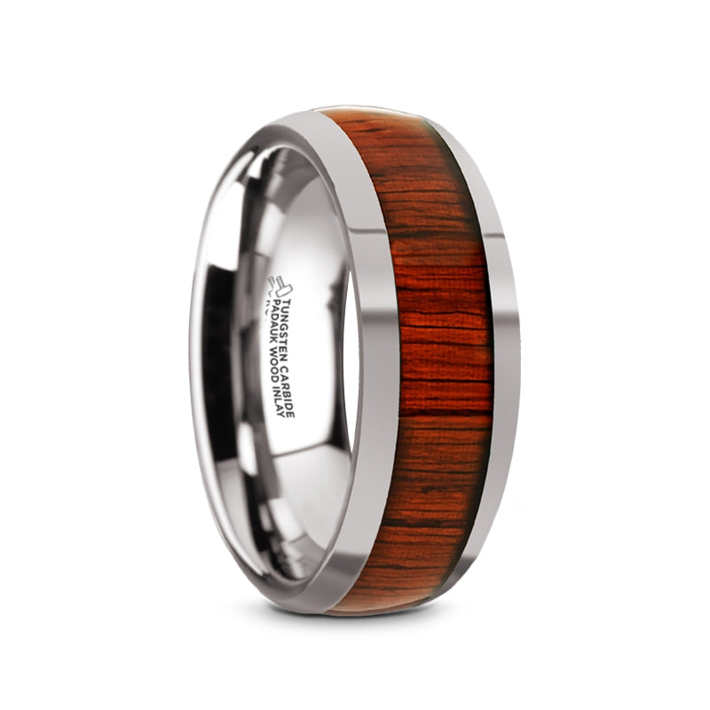8 mm domed Tungsten wedding band with a Padauk wood inlay and polished finish