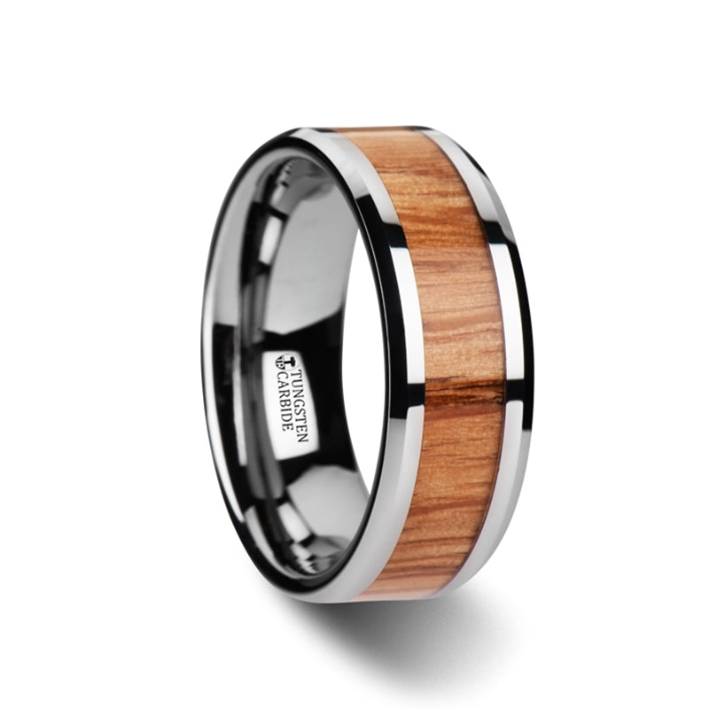 6 mm Tungsten wedding band with a Red Oak wood inlay and beveled edges
