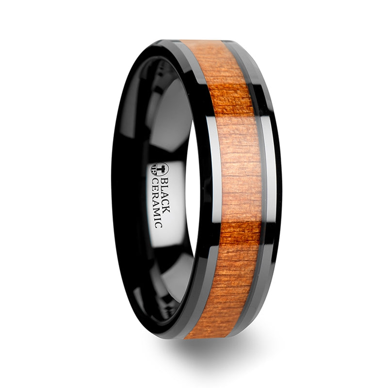 5 mm black Ceramic wedding band with a Cherry wood inlay and beveled edges