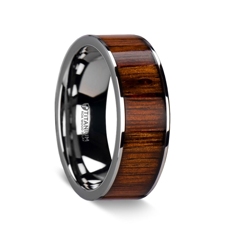 flat Titanium ring with a KOA wood inlay and polished edges