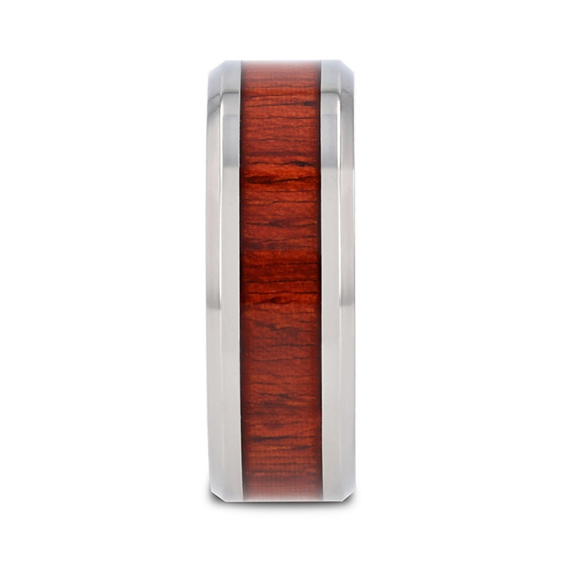 4 mm beveled edged Titanium ring with a Padauk wood inlay and polished finish