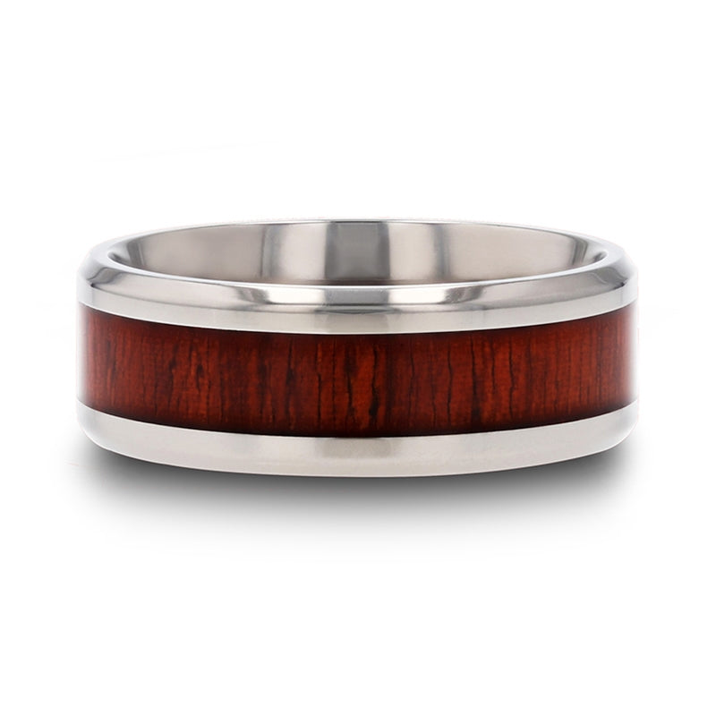 8 mm beveled edged Titanium ring with a Padauk wood inlay and polished finish