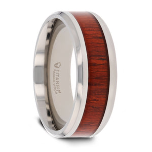 6 mm beveled edged Titanium ring with a Padauk wood inlay and polished finish