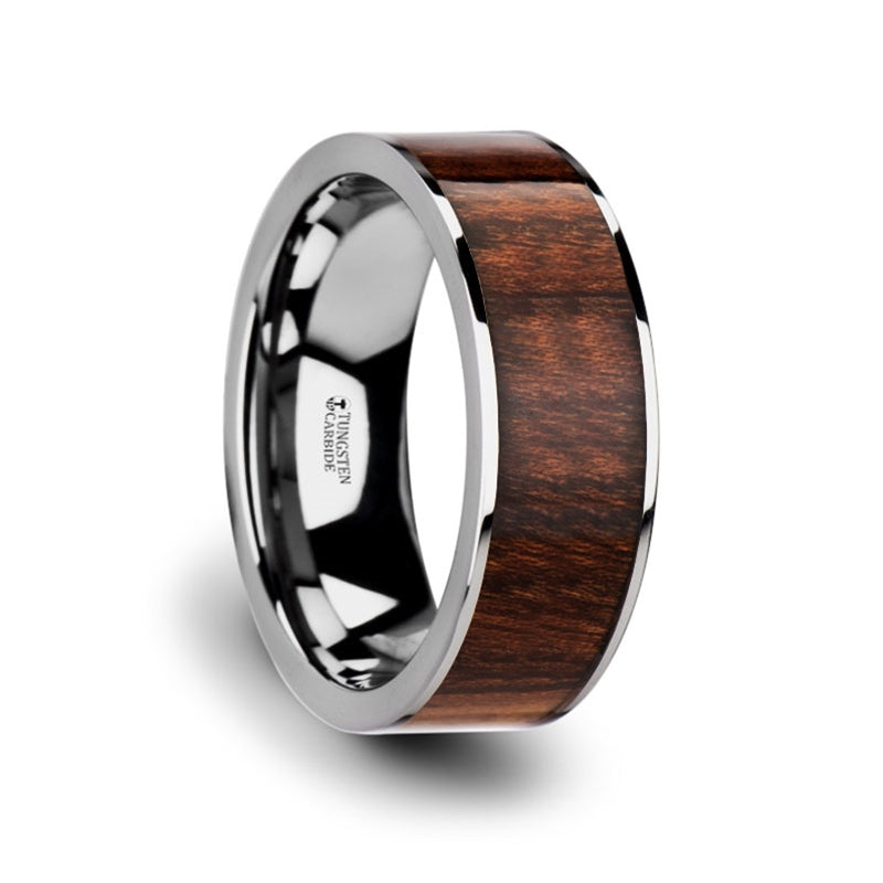 8 mm flat Tungsten ring with a Carpathian wood inlay and polished edges