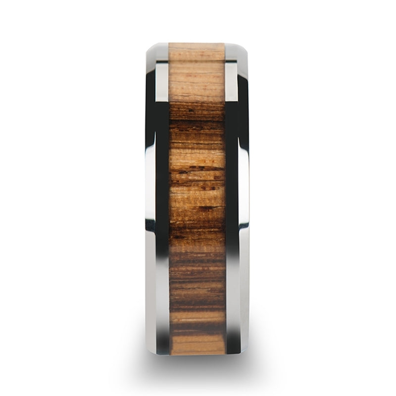 4 mm Zebra wood inlaid Tungsten wedding band with beveled edges