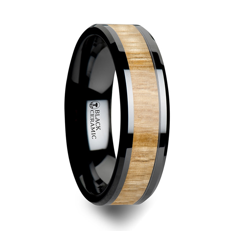 6 mm black Ceramic wedding band with polished edges and an Ash wood inlay