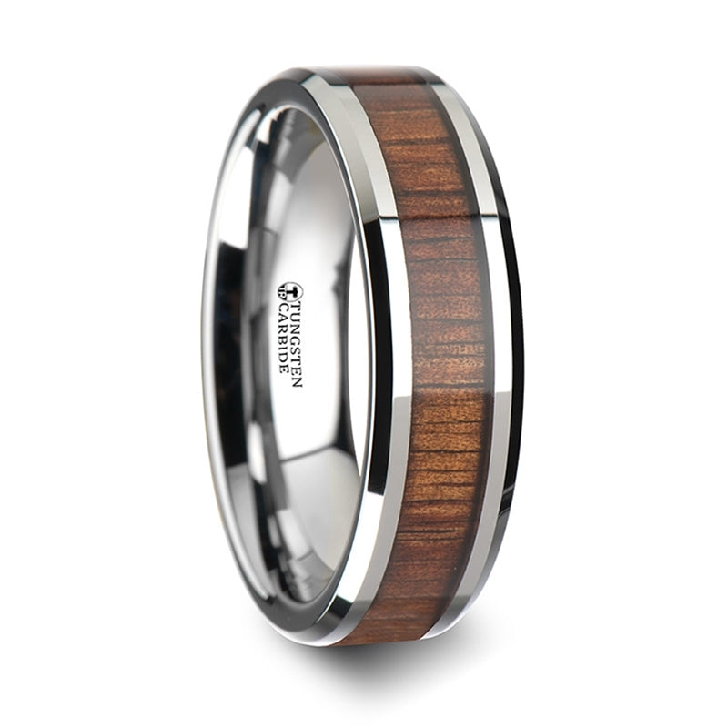 6 mm beveled edged Tungsten Carbide wedding band with a KOA wood inlay