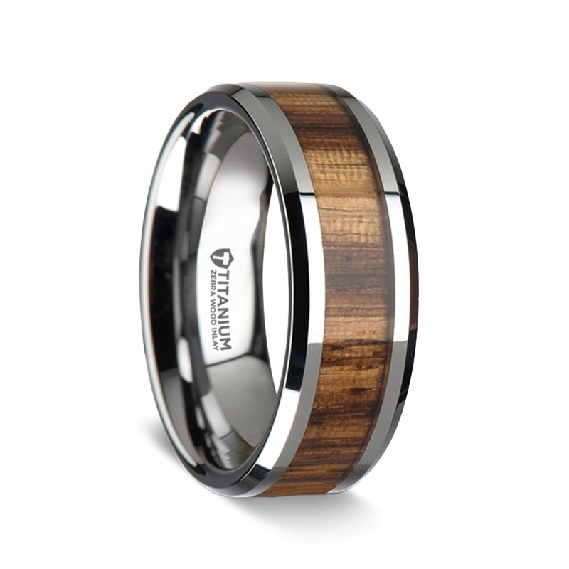 Titanium wedding band with beveled edges and a Zebra wood inlay