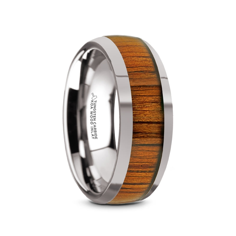 8 mm domed Tungsten band with a KOA wood inlay and a polished finish