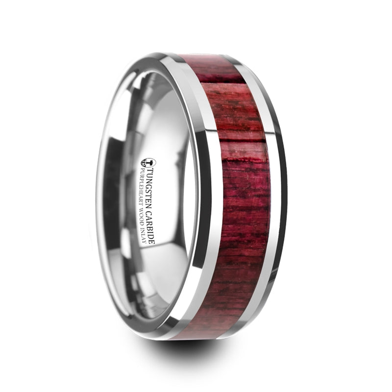 8 mm Tungsten wedding band with beveled edges and a Purpleheart wood inlay