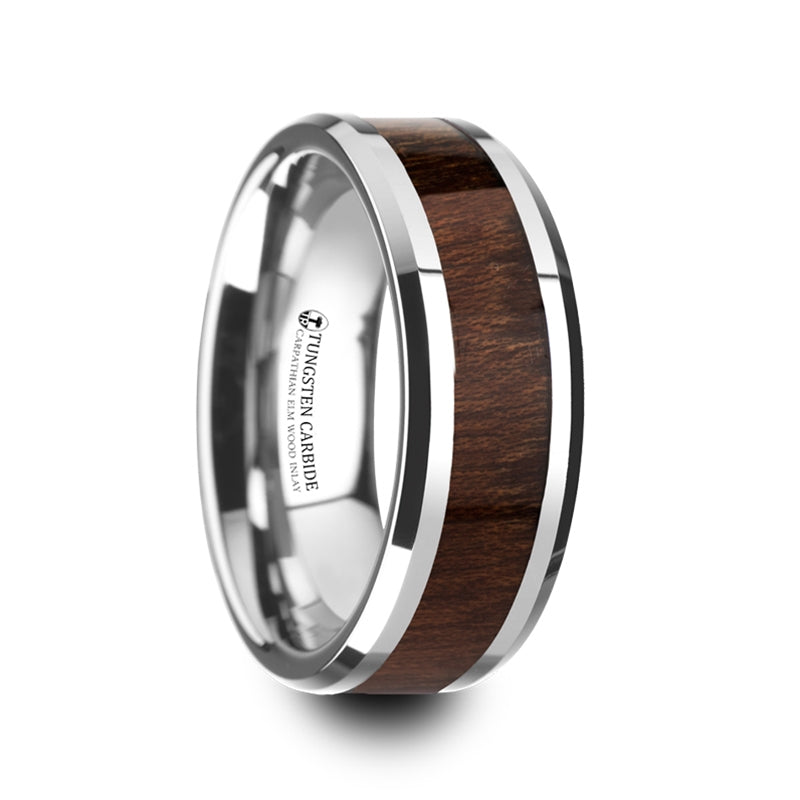 8 mm men's Tungsten wedding band with beveled edges and a Carpathian wood inlay