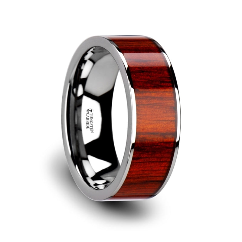 8 mm Padauk wood inlaid flat Tungsten ring with polished edges