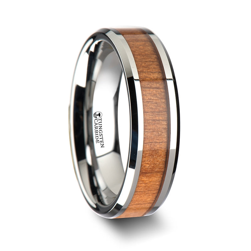 5 mm polished edged Tungsten ring with a Cherry wood inlay