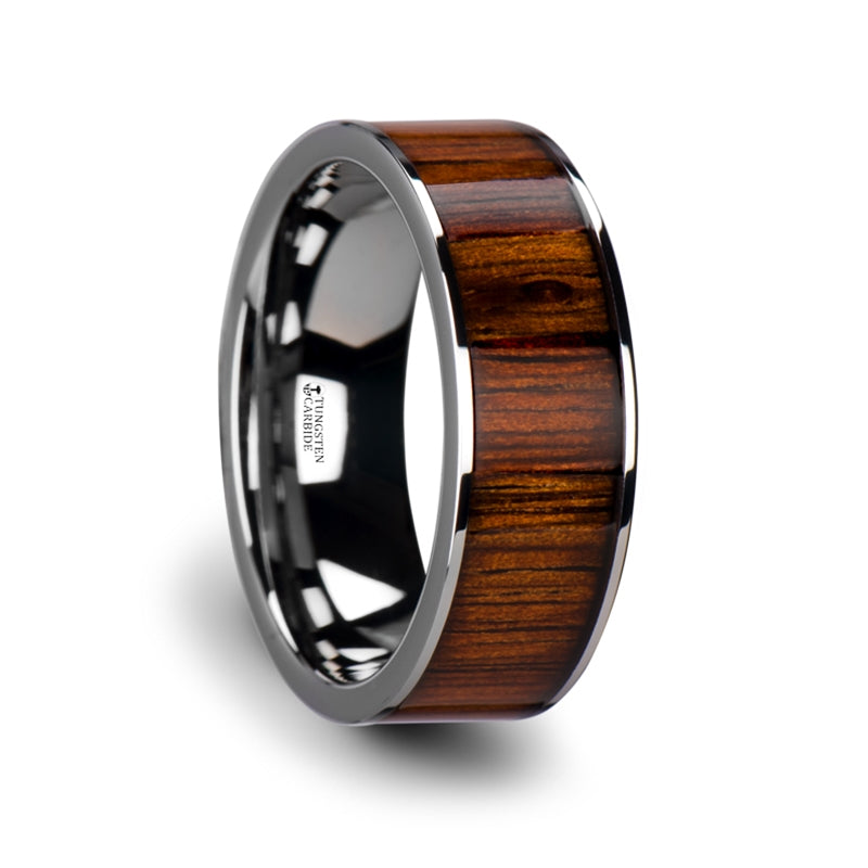 8 mm flat Tungsten wedding band with a KOA wood inlay and polished edges