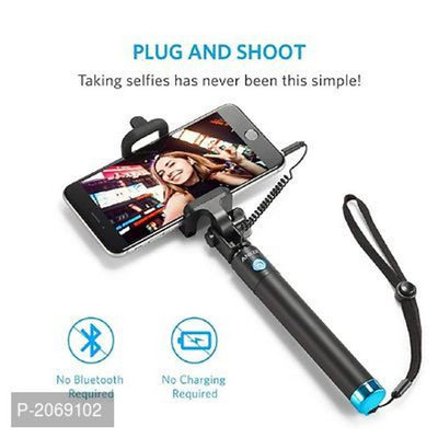 Compatible Selfie Stick With Wire/Aux Cable (No Bluetooth Or Battery)